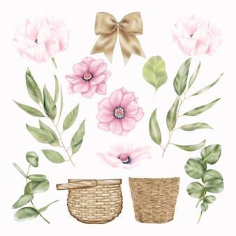 夏の白とピンクのポピーの花、緑の葉、わらのバスケット、リボンの蝶ネクタイ花飾り