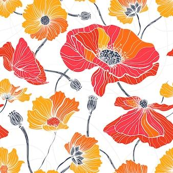 여름 야생 꽃입니다. 흰색 바탕에 빨간색과 흰색 양귀비와 데이지가 있는 원활한 패턴