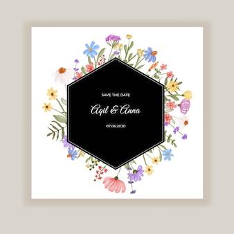 夏の野花の結婚式の招待状