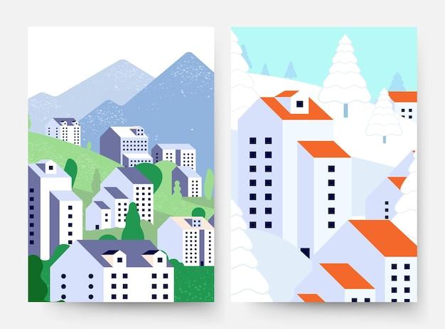夏の冬の風景。郊外のライフスタイルカード、最小限のスタイルの建物、さまざまな季節の自然がチラシをベクトルします。夏と冬の自然、季節の風景雪と緑の木のイラスト