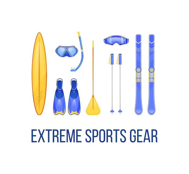 Summer and winter sports equipment social media post mockup. extreme sports gear phrase. web banner design template. booster, content layout with inscription. poster, print ads and flat illustration