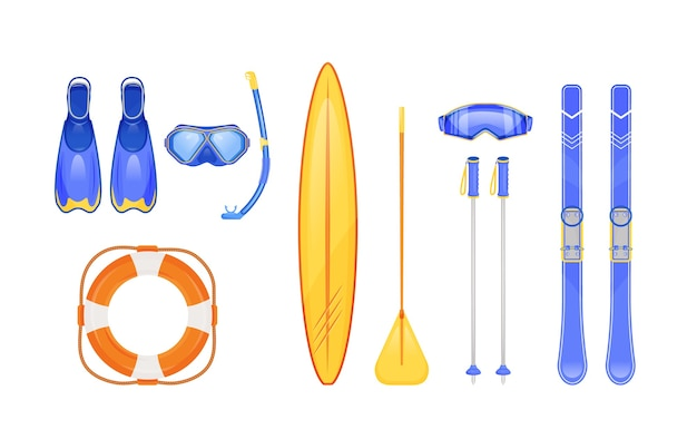 Summer and winter sports gear flat color objects set. scuba diving. skiing sticks. life, ring buoy. seasonal travel equipment. 2d isolated cartoon
