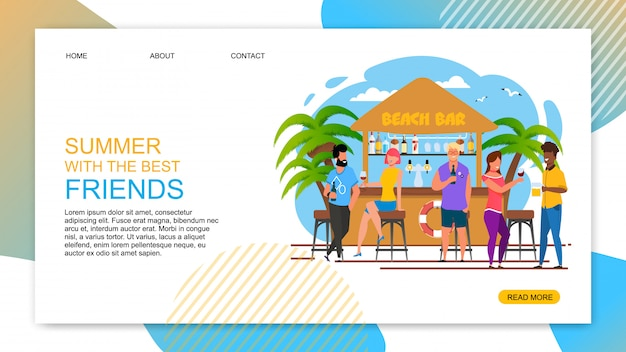 Summer with best friends cartoon text landing page.