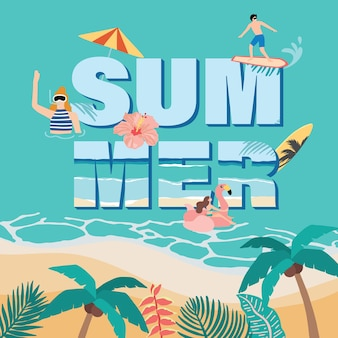 Summer with coconut tree, flamingo ,people on the beach