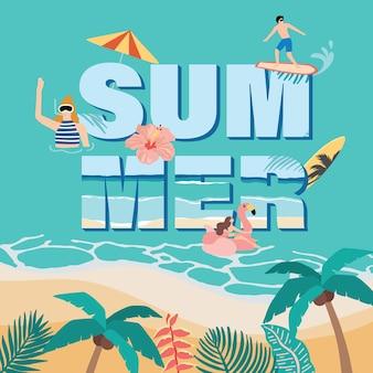 코코넛 나무, 플라밍고, 해변에서 사람들과 여름