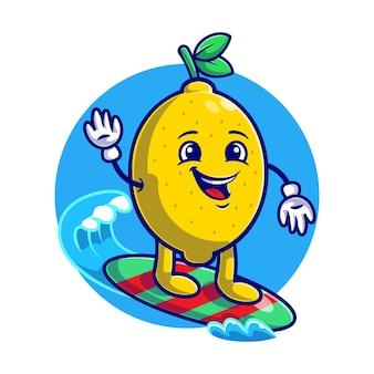 Лето с милым лимонным серфингом на море мультяшная квартира
