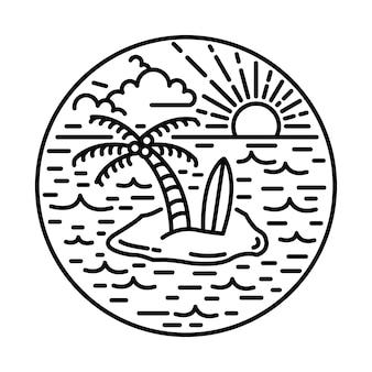 Лето с хорошим видом на природу и закат линия графическая иллюстрация арт дизайн футболки