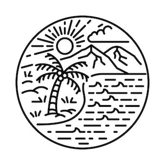 Лето с хорошим видом, линия природы, графическая иллюстрация, арт, дизайн футболки
