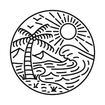 Лето с большой волной и красотой линии взгляда графической иллюстрации арт дизайн футболки