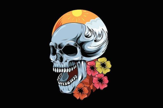 두개골과 아름다움 꽃 손 그림 그리기 여름