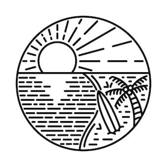 Лето с закатом и красотой вид линии графическая иллюстрация арт дизайн футболки