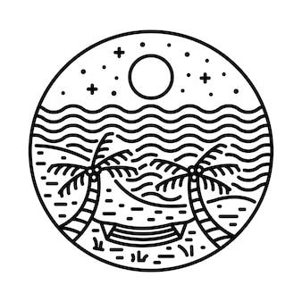 Лето с закатом линия графическая иллюстрация арт дизайн футболки