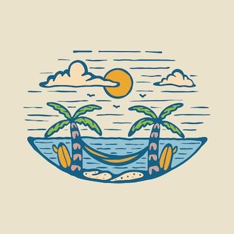 Лето с видом на закат графическая иллюстрация арт дизайн футболки