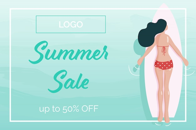 Summer woman  on surf board top arial view social media banner watercolor style