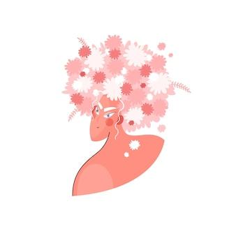 Летняя женщина с цветами на голове в модном стиле в розовых тонах для принтов на футболке