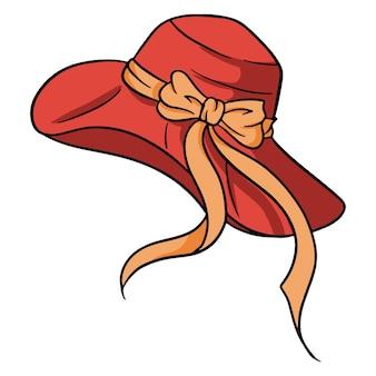 큰 챙과 활이 있는 여름 여성용 모자. 태양 보호 모자. 해변에서 필요한 것들. 만화 스타일입니다. 디자인 및 장식용 삽화.