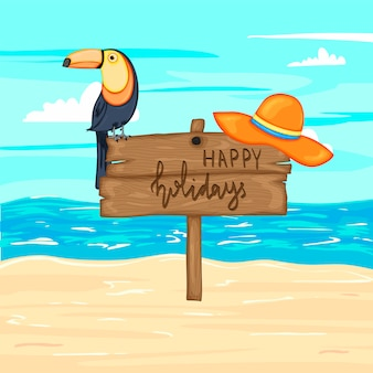 Summer wooden sign with happy holidays, sea and sand. vector illustration