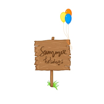 Summer wooden sign with space for text on white background. vector illustration.