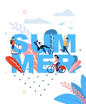 Summer word and resting cartoon people flat banner template