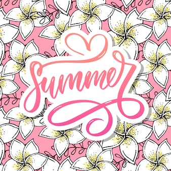Summer word text lettering calligraphy letters and floral design