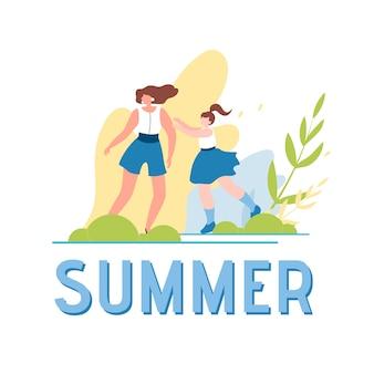 夏の世界と幸せなウォーキング家族イラスト