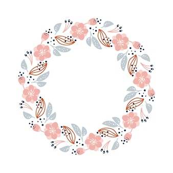 Summer wreath with flowers in scandinavian style. spring herb flat abstract vector garden frame for woman day