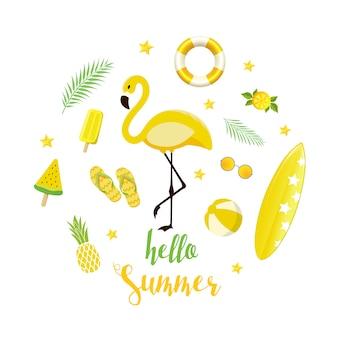 Летние желтые элементы установлены. фон с фламинго, мороженое, арбуз, морская звезда и надписи в плоском стиле.