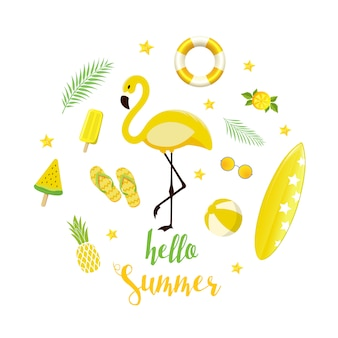 Summer yellow elements set. background with flamingo, ice cream, watermelon, starfish and lettering in flat style.