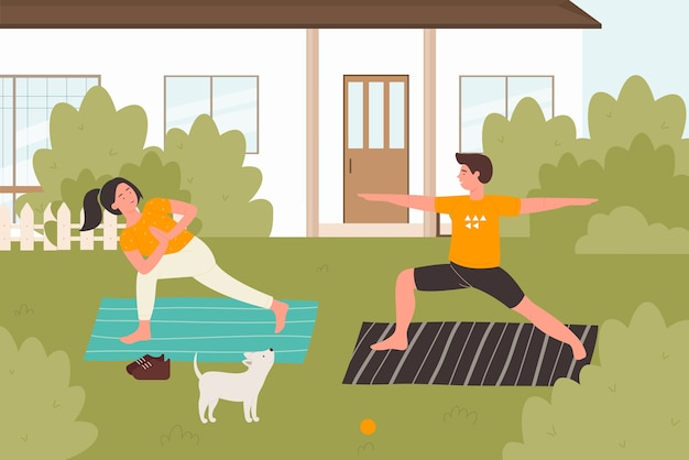 夏のヨガ練習屋外イラスト。幸せな若い家族、友人やカップルのキャラクターが裏庭でアサナヨガのポーズ、自然の背景で夏の健康的な活動を練習