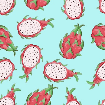 Summerr seamless pattern with tropical fruit