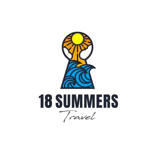 夏のロゴのインスピレーションキーホール波旅行ビーチ