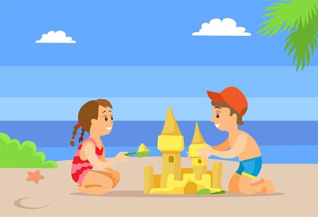 Summertime activity on beach, making castle vector