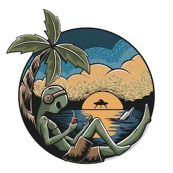 Summertime - alien relaxing on the beach