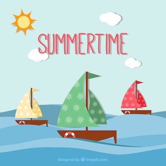 Summertime background with sailboats