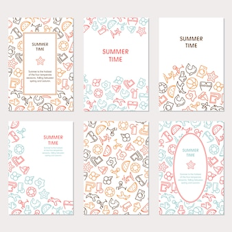 Summertime banners set with icons, can be used like a greeting card, web icons