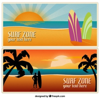 Summertime banners with beach landscapes