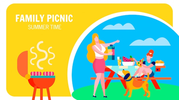 Summertime barbeque party flat banner template