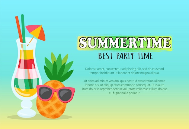 Summertime best party time banner with cocktail