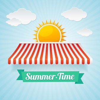 Summertime card. the concept of summer vacation, trade in the holiday season. flat design style
