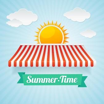サマータイムカード。夏休みのコンセプト、ホリデーシーズンの取引。フラットなデザインスタイル