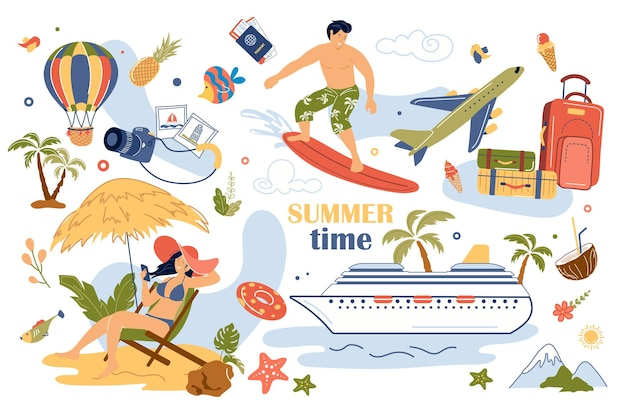 여름 개념 고립 된 요소 집합