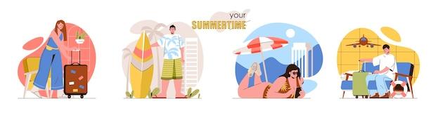 夏のコンセプトシーンは、空港での休暇で待っている男性と女性をビーチサーフィンで日光浴する海のリゾートに設定します人々の活動のコレクション