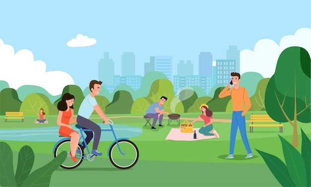 Summertime flat illustration people in the park