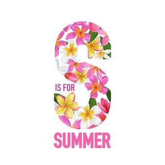 Summertime floral background tropical flowers design