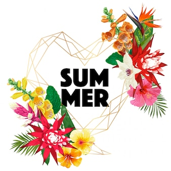 Summertime floral design. tropical flowers and palm leaves