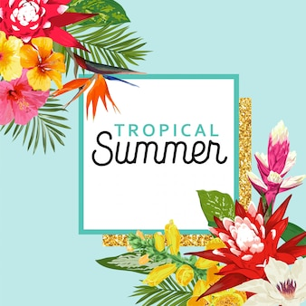 Summertime floral frame. tropical flowers and palm leaves design