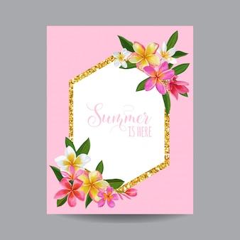 Summertime floral frame. tropical plumeria flowers design