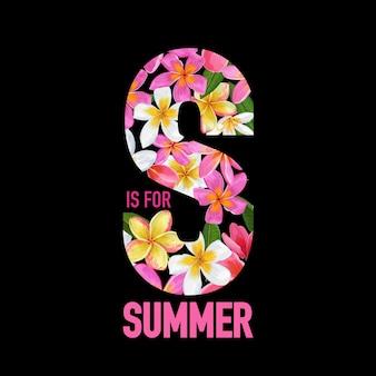夏の花のポスター。バナー、チラシ、パンフレット、ファブリックプリントの熱帯プルメリアの花のデザイン。こんにちは夏の水彩植物の背景。ベクトルイラスト