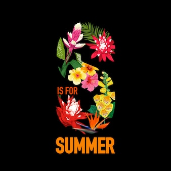 Summertime floral s letter. tropical flowers and palm leaves. black design