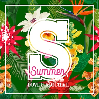 Summertime floral s letter. tropical flowers and palm leaves design
